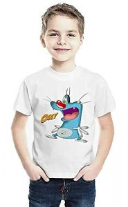 Oggy Cartoon Printed Casual & Stylish Round Neck, Half Sleeves T-Shirt for Kids (Color-White)