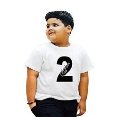 Regular Wear 2-Lucky-Number Printed Round Neck, Half Sleeves T-shirts for kids (Color-White)