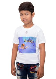 Regular Fit Flying Bajrangi Printed Round Neck Casual, Half Sleeves T-Shirt for Kids (Color-White)