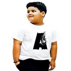 Half Sleeves A-Alphabet Printed Round Neck Regular Fit Casual T-shirts for kids (Color-White)