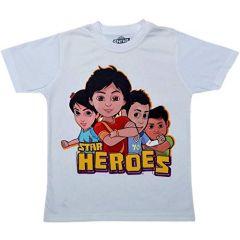 Star Heroes Cartoon Design Printed Regular T-Shirt for Kids & Boys (Color-White)