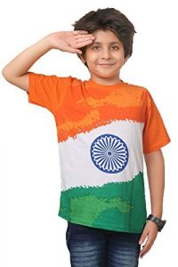 Indian Flag Printed Half Sleeve Casual Round Neck T-Shirt for kids (Color-White)