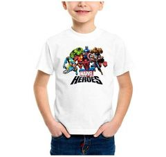 Regular Fit, Round Neck, Half Sleeves Marvel Heroes Printed T-Shirt for Kids (Color-White)