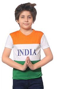 INDIAN-FLAG Printed Regular Fit, Round Neck, Half Sleeves T-Shirt for Kids (Color-White)