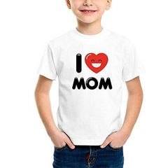 Kids Round Neck, Half SleevesI LOVE MOM Printed Casual T-Shirts for Regular Wear (Color-White)