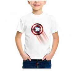 Casual, Half Sleeves Avenger Star Shield Logo Printed Round Neck T-Shirt for Kids (Color-White)