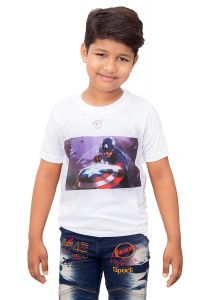 Half Sleeves, Casual, Avenger Star Shield Printed Round Neck T-Shirt for Kids (Color-White)