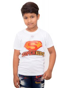 Kids Round Neck Super Kids Printed Half Sleeves T-Shirt for Casual Wear (Color-White)