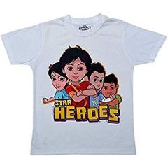 Kids Half Sleeves, Star Hero Printed Round Neck T shirts for regular Wear & parties (Color-White)