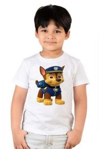 Woofy Printed Round Neck, Half Sleeves, Casual T shirts for kids (Color-White)
