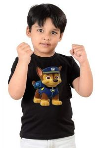 Half Sleeves Woofy Printed Round Neck, Casual T shirts for kids (Color-Black)