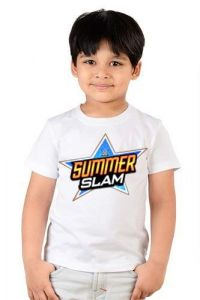 Summer Slam Round Neck, Half Sleeves Printed Casual Wear T-shirts for kids (Color-White)