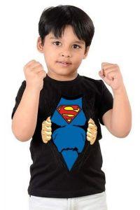 Super Man Printed Round Neck, Regular Wear, Casual  T-shirts for kids (Color-Black)