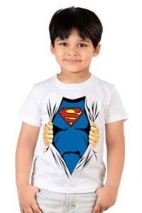 Half Sleeves Super Man Printed Round Neck, Regular Wear, Casual T-shirts for kids (Color-White)