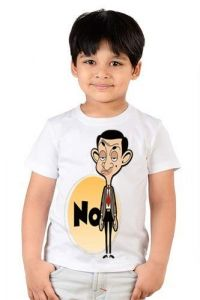 kids Mr Bean Cartoon Printed Round Neck, Casual T-shirts for Regular Wear (Color-White)