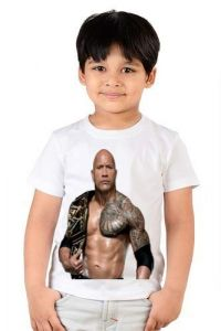 Half Sleeves, Round Neck The Rock Printed Casual T-shirts for kids (Color-White)