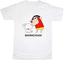 Shinchan Pinted Round Neck Regular Fit T-shirts for Kids (Color-White)