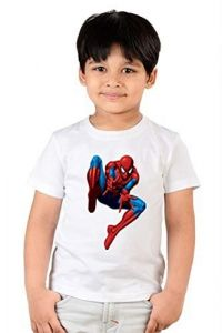 Casual Spider Man Printed Round Neck, Half Sleeves T-shirts for kids (Color-White)