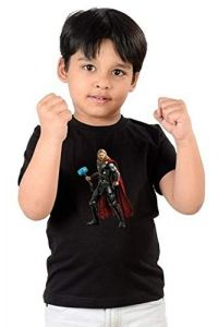 Kids Thor Printed Round Neck, Half Sleeves T-shirts for kids (Color-Black)