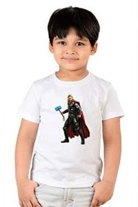 Regular Wear Kids Thor Printed Round Neck, Half Sleeves T-shirts for kids (Color-White)