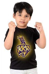 Regular Wear KKR kolkata Knight Riders Printed Half Sleeves T-shirts for kids (Color-Black)