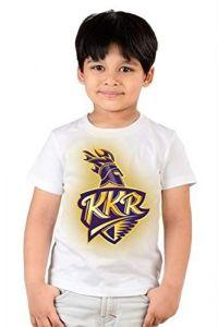 Regular Wear KKR kolkata Knight Riders Printed Half Sleeves T-shirts for kids (Color-White)