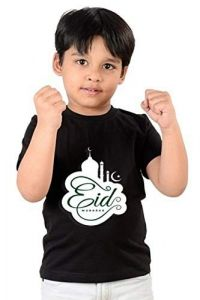Classic Fit Eid Mubarak Printed Casual Half Sleeves T-Shirts for kids (Color-Black)