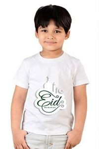 Eid Mubarak Printed Casual Half Sleeves Classic Fit T-Shirts for kids (Color-White)