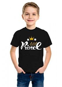 kids Round Neck Little Prince Printed Half Sleeves T-shirts for Regular Wear (Color-Black)