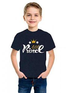 Round Neck Little Prince Printed Half Sleeves kids T-shirts for Regular Wear (Color-Blue)