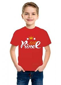 Little Prince Printed Round Neck, Half Sleeves kids T-shirts for Regular Wear (Color-Red)