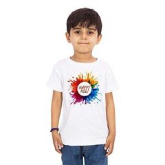 Holi Special Happy Holi Printed Half Sleeves, Round Neck Casual T-shirts for kids (Color-White)