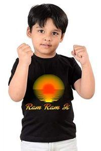 kids Regular Wear Ram Ram ji Printed Round Neck, Half Sleeves T-shirts (Color-Black)