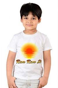 kids Ram Ram ji Printed Round Neck, Half Sleeves T-shirts For Regular Wear (Color-White)