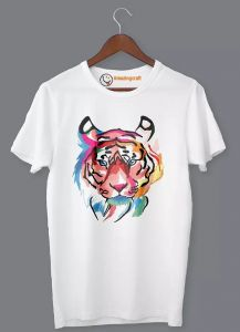 Frndmart Stylish & Fashionable Tiger Casual Round Neck Printed T-Shirt For Men's (White)