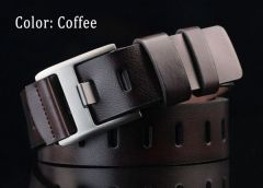Stylish Casual Dark Brown Artificial Leather Belt for Men's