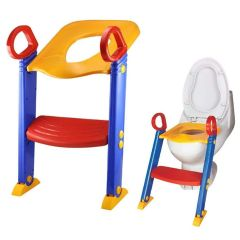 LWVAX Potty Ladder,Foldable Potty Training Seat Chair with Step Stool Ladder, Non-Slip Toilet Potty Stand and Ladder Ideal & Best for Kids