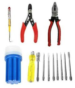 SKY BLUE Hand Tools Kits |Plier, Wire Cutter, Line Tester, Screwdriver Set| For Cutting And Bending Wire & Testing (Pack of 4)