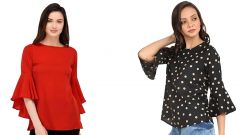G.P Daisy Red Bell Sleeve and Stripped Bell Sleeve Top for Womens (Pack of 2)
