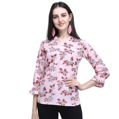 Daisy Stlyish Flower Printed 3|4 Sleeves Top for Womens (Color:-Pink)