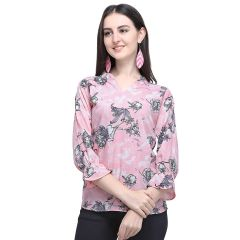 Daisy Stlyish Flower Printed 3|4 Sleeves Top for Womens