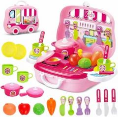 Toys Pretend Play Carry Along Kitchen Food Play Set For Girls (Color: Pink)