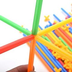 Building Construction Children's Puzzle Straw Blocks Creative Toy For Kids (Multi-Color)