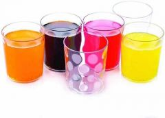 Plastic Multipurpose Unbreakable Stylish Transparent Glass Set (Pack of 6)
