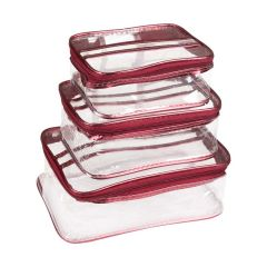 Unicrafts Vanity Box for Jewellery and Cosmetics | Multipurpose Makeup Organizer Transparent Vanity Pouches for Cosmetic Necklace Storage (Pack of 3)