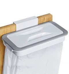CYALERVA Hanging Plastic Kitchen Trash Can Bag Holder For Kitchen Garbage Kitchen (White)