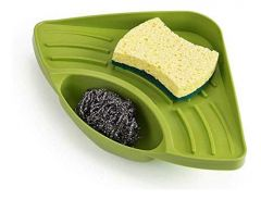Aaradhya Bazaar Multipurpose Plastic Kitchen Sink Organizer Corner Tray Ideal for Cleaning (Large) (Color: Green)