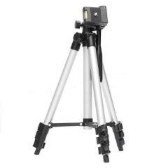 Tripod 3110 Smart Aluminium Adjustable, Portable and Foldable Tripod Stand Clip and Camera Holder (Black & Silver)