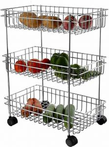 Stainless Steel 3 Layers Kitchen Storage high grade polished Trolley (Pack of 1)