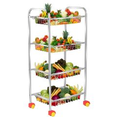 PALOMINO Stainless Steel Fruits and Vegetables Kitchen Rack Trolley (4 Shelf) (Silver)